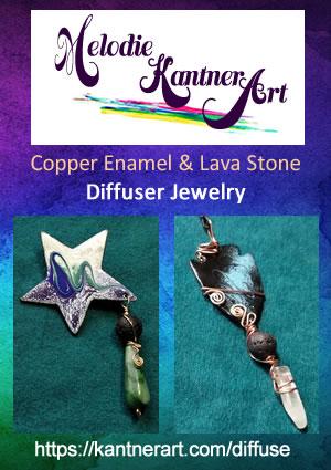 Copper Enamel Art and Lava Stone Essential Oil Diffuser Jewelry